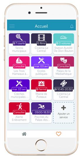 Dans la partie « favoris », l'application propose de personnaliser et de gérer vos propres services en fonction de vos besoins quotidiens et centres d'intérêt.