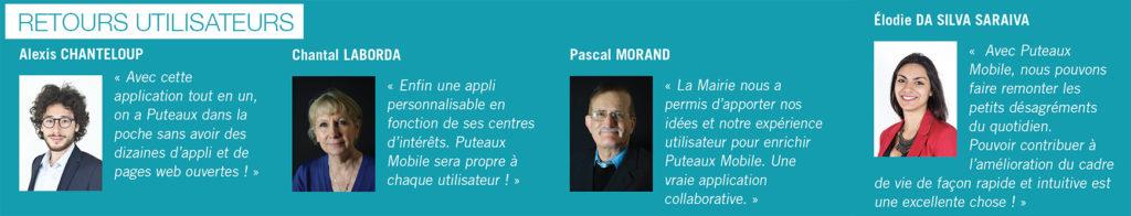 Retours utilisateurs de l'application Puteaux Mobile.